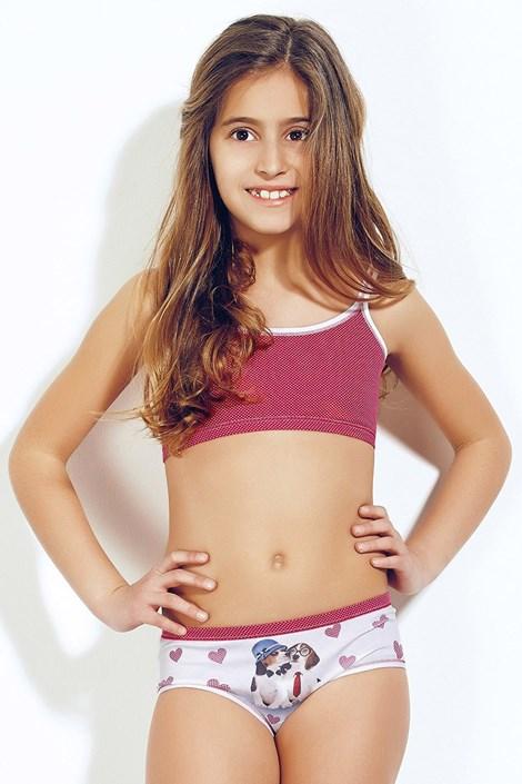 Dívčí komplet top a kalhotky 377 Red