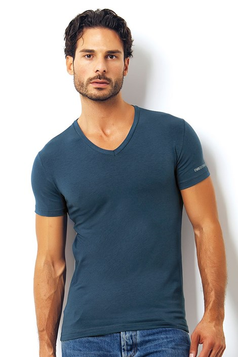 Pánské italské tričko Enrico Coveri ET1501 Avio bavlněné