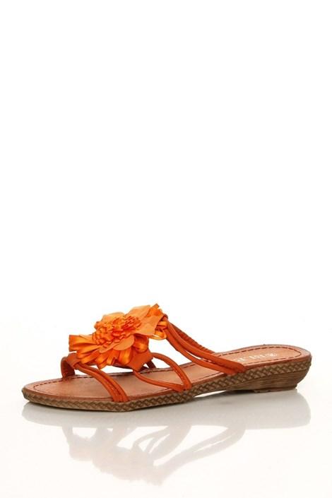 Oranžové páskové pantofle