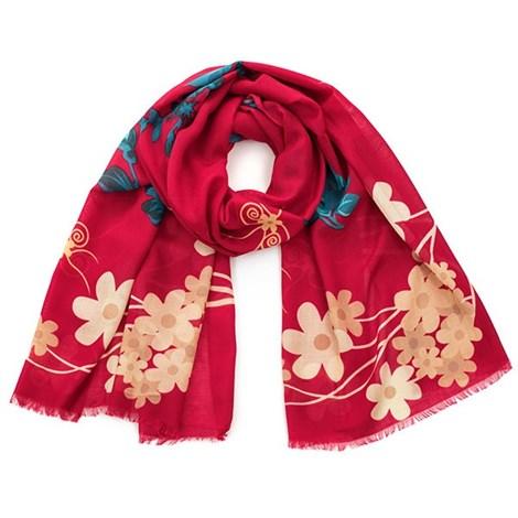 Romantický šátek Flowers červený