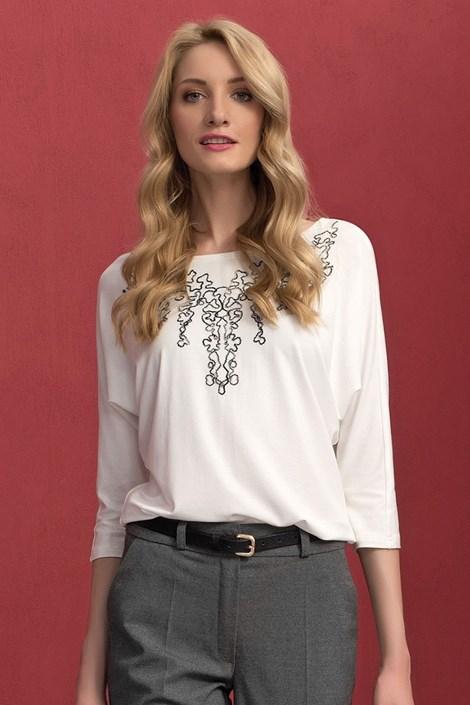 Vyšívané dámské triko Sarina White