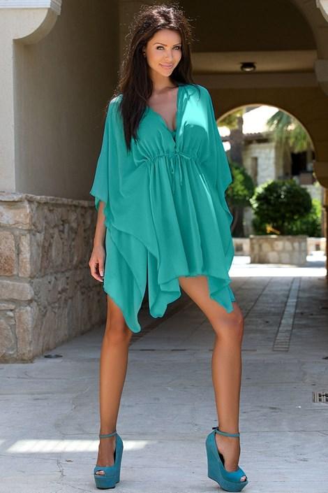 Průsvitné plážové šaty TOO5 Turquise
