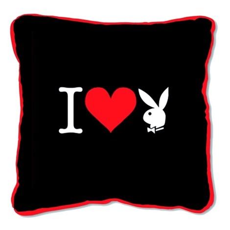 Polštářek  Square I Heart Bunny black