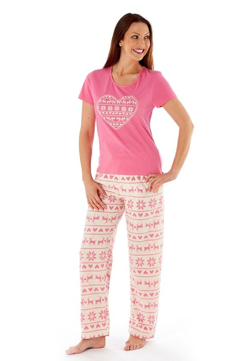Dámské pyžamo Hearty Winter Pink