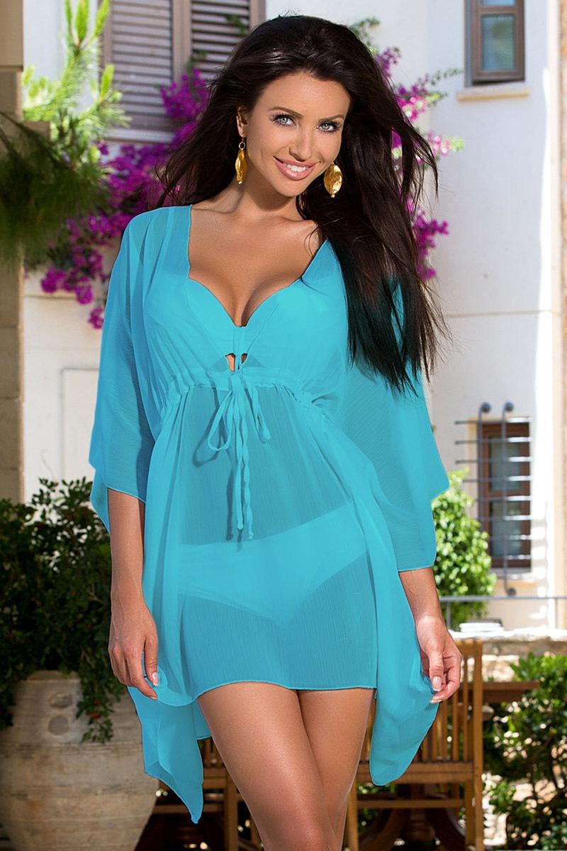 Průsvitné plážové šaty TOO5 Blue