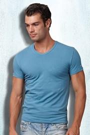 Pánske tričko ET1501 Petrolio s výstřihem do V