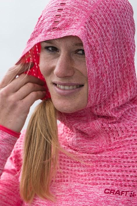 Dámská funkční mikina Craft Core Hood Seamless Pink