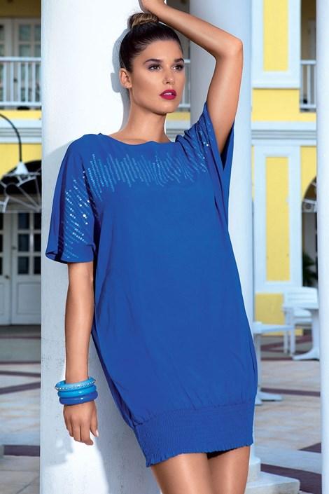 Luxusní letní šaty ručně zdobené z kolekce David Mare 6609 Blue