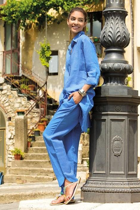 Dámské lněné kalhoty Sherie Blue z kolekce Iconique