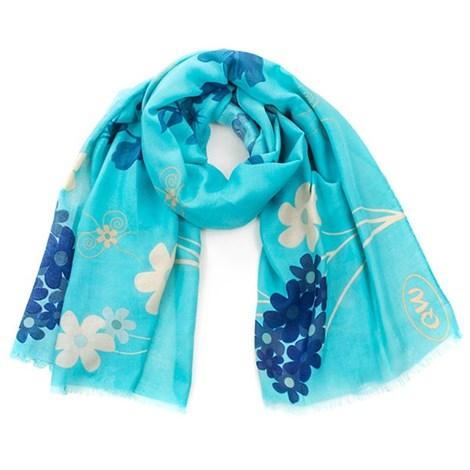 Romantický šátek Flowers tyrkysový
