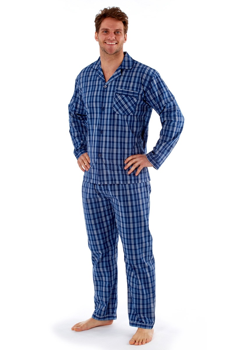 Pánské pyžamo Harvey Blue Check Long