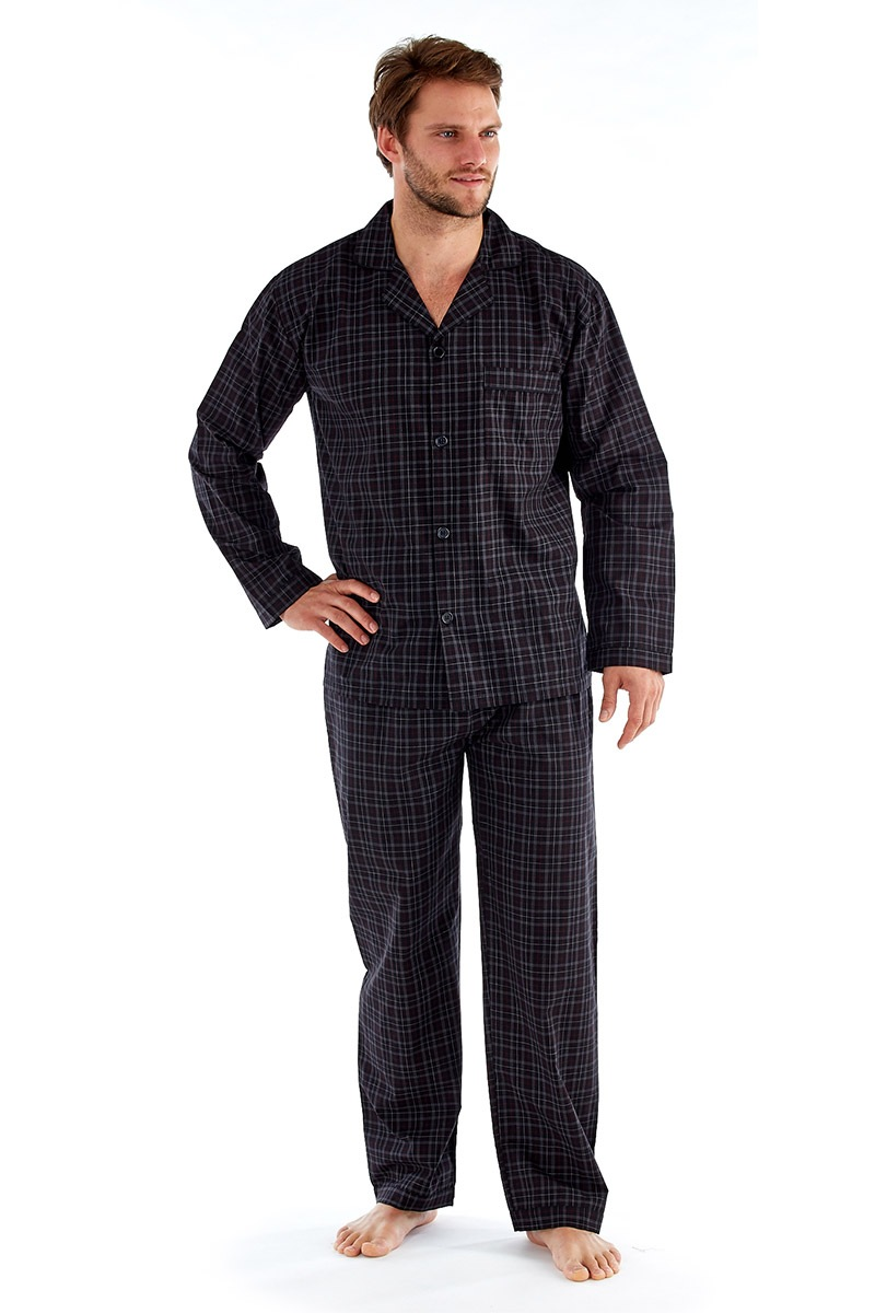 Pánské pyžamo Harvey Black Check Long