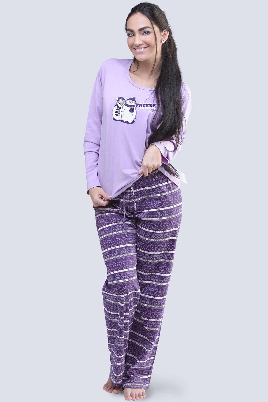 Dámské bavlněné pyžamo Penguin fialové
