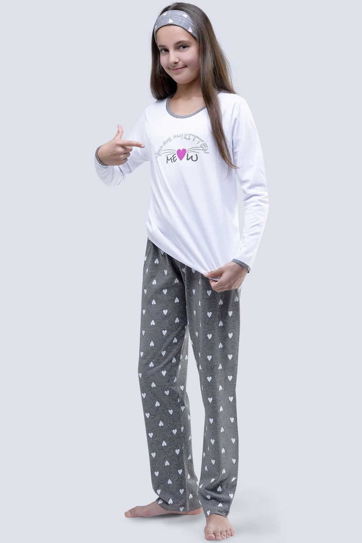 Dívčí pyžamo Meow bílé
