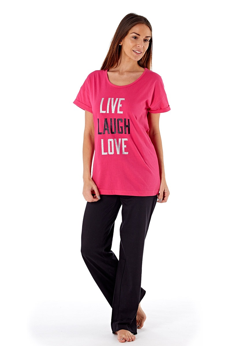 Dámské bavlněné pyžamo Laugh Pink