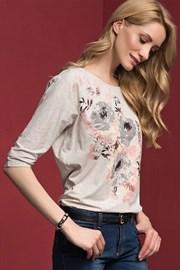 Dámské květinové triko Adelina Beige