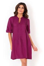 Dámské lněné letní šaty David Beachwear Fuksia 05