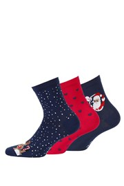 3 pack dámských vzorovaných ponožek 998