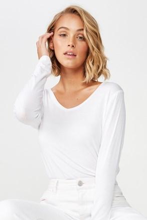 Dámské basic triko s dlouhým rukávem Karly bílá