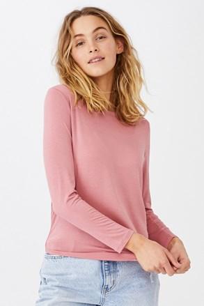 Dámské basic triko s dlouhým rukávem Kathleen růžová