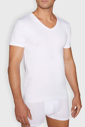Moška spodnja majica Cotton Nature V neck, bela