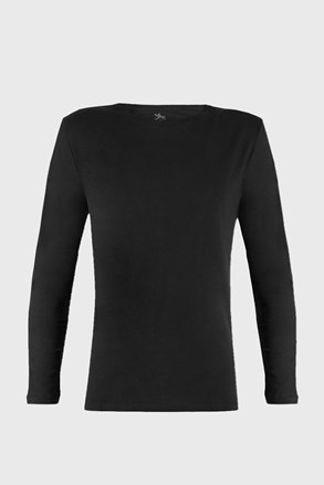 Fekete póló hosszú ujjú Cotton Nature