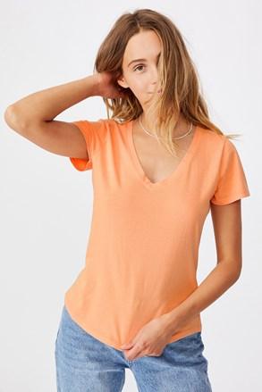 Dámské basic triko s krátkým rukávem One apricot