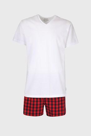 Férfi pizsama szett, póló és kockás mintás rövid pizsamanadrág