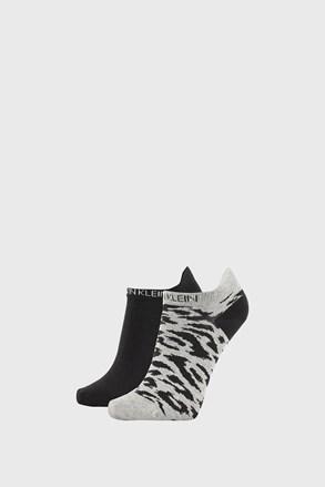 2 PACK dámských ponožek Calvin Klein Libby šedočerné
