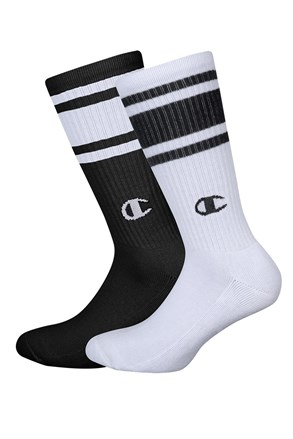 2 PACK vysokých černobílých ponožek Champion