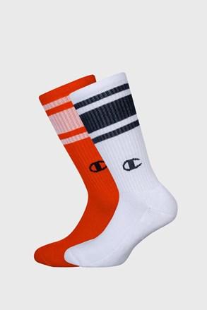 2 PACK vysokých oranžovobílých ponožek Champion