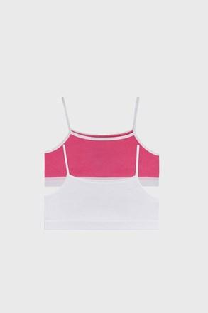 2 PACK dívčích basic topů růžovobílá