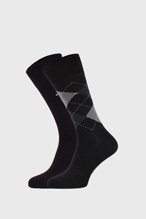 2 PACK černých ponožek Tommy Hilfiger Check