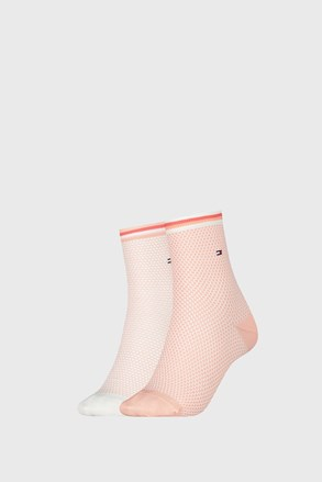 2 PACK dámských ponožek Tommy Hilfiger Honeycomb Coral