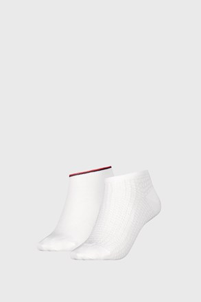 2 PACK dámských ponožek Tommy Hilfiger Waffle White