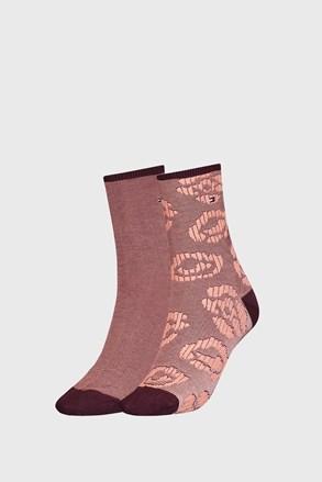 2 PACK dámských hnědých ponožek Tommy Hilfinger Flower