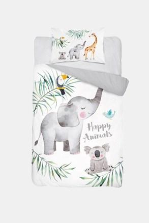 Bambusové povlečení do dětské postýlkly Happy Animals