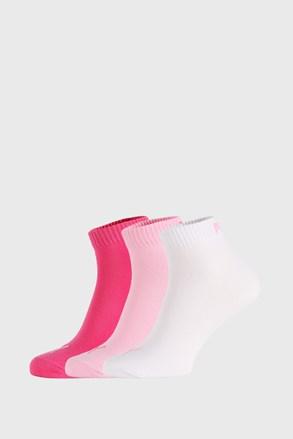 3 PACK růžových ponožek Puma Quarter Plain