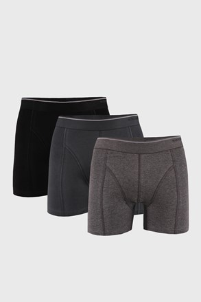 3 PACK černošedých boxerek Tender cotton