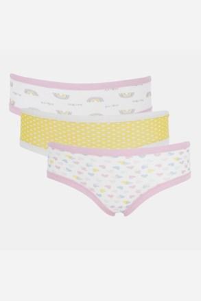 3 PACK dívčích kalhotek Basic Cotton Rainbow