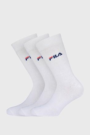 3 PACK bílých tenkých vysokých ponožek FILA