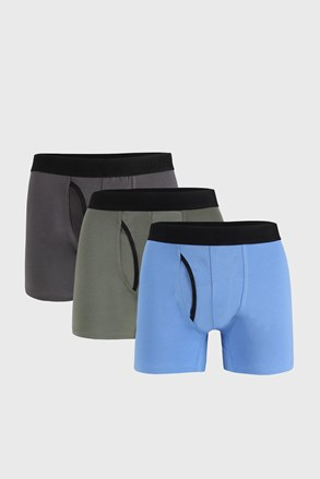 3 PACK modrošedých boxerek Organic Cotton