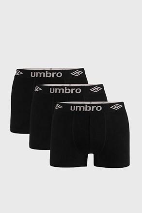 3 PACK černých boxerek Umbro Organic cotton
