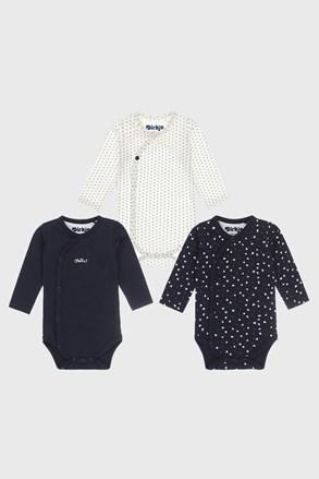 3 PACK dívčích kojeneckých bodýček Baby hearts