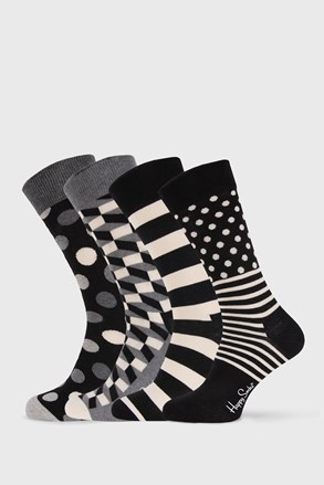4 PACK ponožiek Happy Socks Black and White