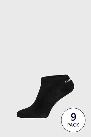 9 PACK černých kotníkových ponožek Umbro