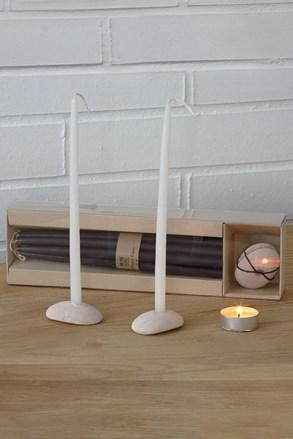 Sada kamenných svícnů se svíčkami černá