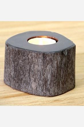 Svícen zkamenělé dřevo tmavý