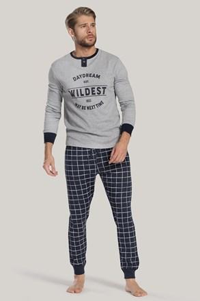 Pánské pyžamo šedo-modré s nápisem