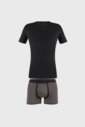 Męski komplet: T-shirt i bokserki Dandy czarne